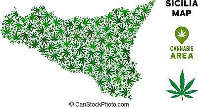 Vector Marijuana Composition Sicilia Map - Cannabis Sicilia...