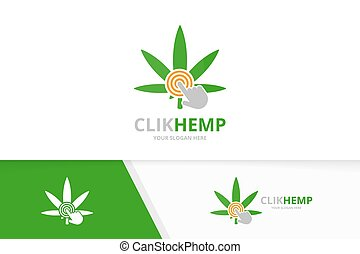 Vector marijuana leaf and click logo combination. Hemp and cursor symbol or icon. Unique cannabis and digital logotype design template.