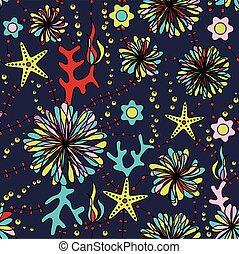 marine flowers colorful seamless pattern