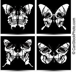 vector, mariposas, conjunto, skulls.