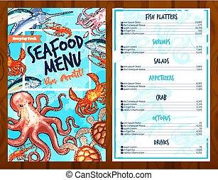 vector, mariscos frescos, y, pesque alimento, menú restaurante