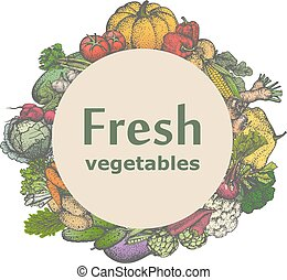 Vector mark sticker sign icon of fresh vegetables - Vector...