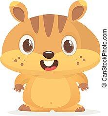 vector, marmot., aislado, lindo, marmota, caricatura, día, ilustración, marrón