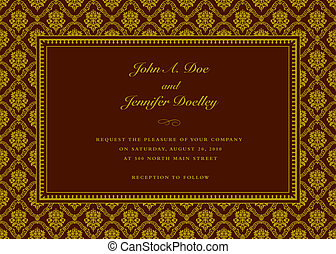 Vector Maroon Frame and Pattern - Vector damask frame with...