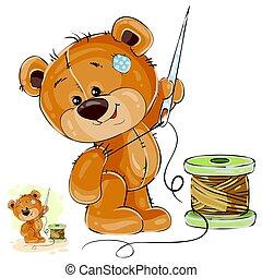 vector, marrón, el suyo, pata, teddy, aguja, costura, ...