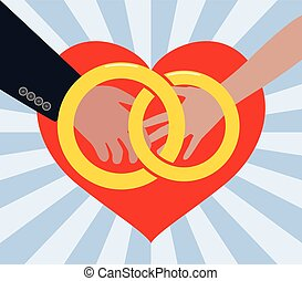 vector marriage illustration of man and woman in love