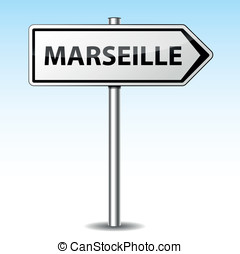 Vector marseille directional sign - Vector illustration of...