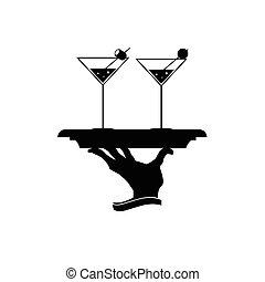 vector, martini, ilustración