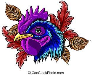 vector mascot of rooster head illustration design