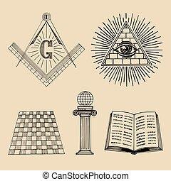 Vector masonic symbols set. Sacred society icons, freemasonry emblems, logos. Esoteric illustrations collection.
