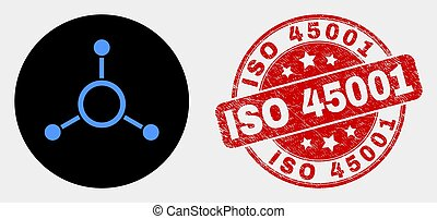 Vector Masternode Links Icon and Scratched ISO 45001 Seal