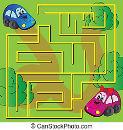 Vector maze game - Children's puzzle - simple maze - bright...