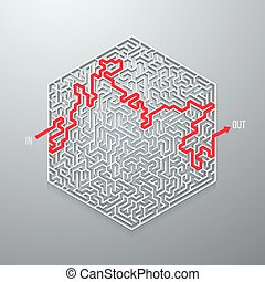 Vector Maze Icon. Antique Labyrinth Game Puzzle with Solution