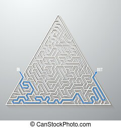 Vector Maze Labyrinth. Antique Puzzle Game Pattern with Solution