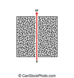 Vector Maze Labyrinth. Greek Puzzle with Solution