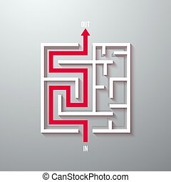 Vector Maze Labyrinth Simple Icon. Greek Puzzle Challenge with Solution. Maze with Way In and Out
