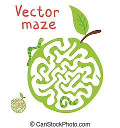 Vector Maze, Labyrinth with ?aterpillar and Apple. - Vector...