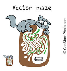 Vector Maze, Labyrinth with cat.