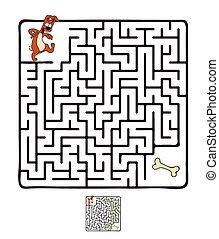 Vector Maze, Labyrinth with Dog. - Vector Maze, Labyrinth...