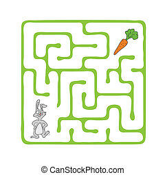 Vector Maze, Labyrinth with Rabbit and Carrot. - Vector Maze...