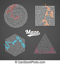 Vector Maze Set. Labyrinth Puzzle with Solution