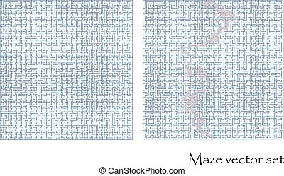 Vector maze set with a solution