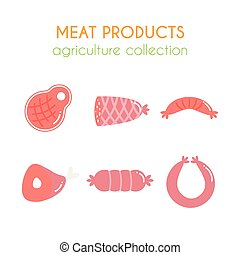 Vector meat products illustartions. Sausages and ham design. Cartoon slice of steak. Pork and beef meat elements. Flat argiculture collection.