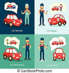vector mechanic service, repair posters set