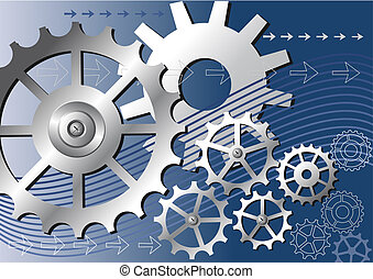 Vector mechanical background - Vector gears engineering...