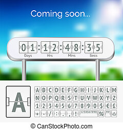 Vector mechanical scoreboard grey alphabet with numbers on white