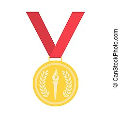 vector, medaille, goud, illustratie