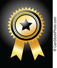 vector, medaille, goud, illustratie