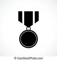 vector, medaille, toewijzen, pictogram