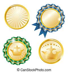 vector, medallas, conjunto