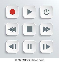Media player control icon set
