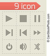 Vector media player icon set
