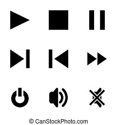 Vector media player icons set on white background