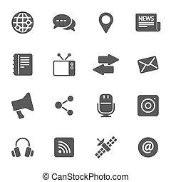 vector, media, set, black , iconen