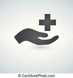 Vector medical care Icon hand and cross