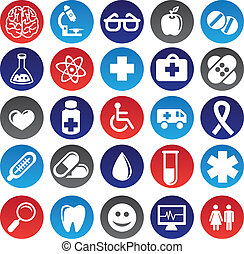 Vector medical icons and signs - circle buttons