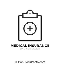 Vector medical insurance icon. Premium quality graphic design element. Modern sign, linear pictogram, outline symbol, simple thin line icon