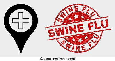 Vector Medical Map Marker Icon and Distress Swine Flu Stamp Seal