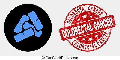 Vector Medical Pills Icon and Distress Colorectal Cancer Stamp Seal