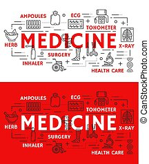 Vector medical poster of thin line medicine symbol
