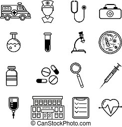 Vector medicine icons set in flat style