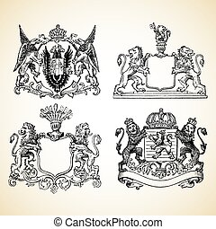 Animal crest illustrations. Easy to edit or change color.