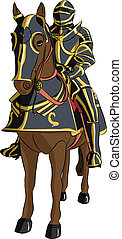 vector medieval knight in armor on horseback