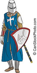 vector medieval knight in armor with a sword and shield...