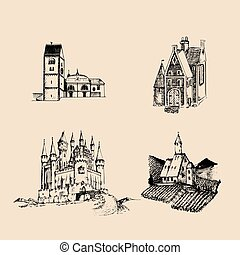Vector medieval landscapes illustrations set. Hand drawn...