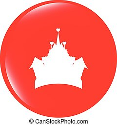 vector Medieval royal castle - web icon button isolated